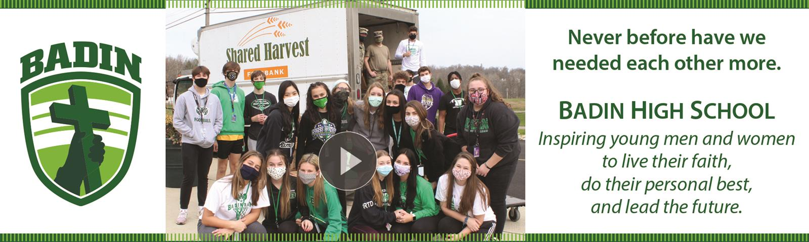 Student volunteers in front of Shared Harvest Food Bank truck