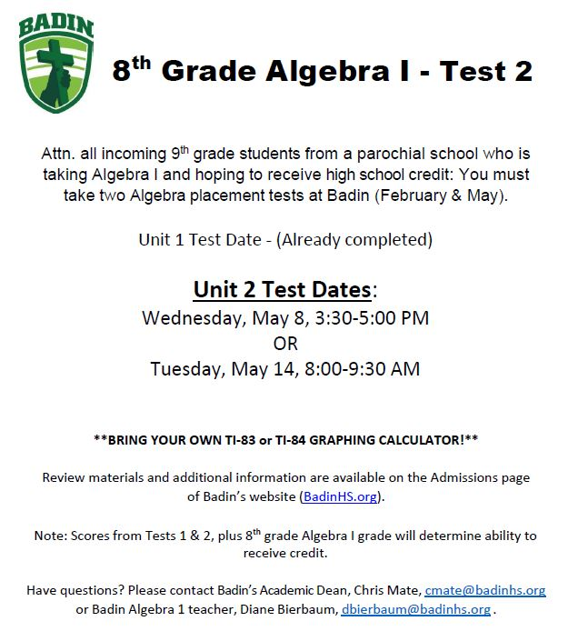 Algebra 1 Important Information
