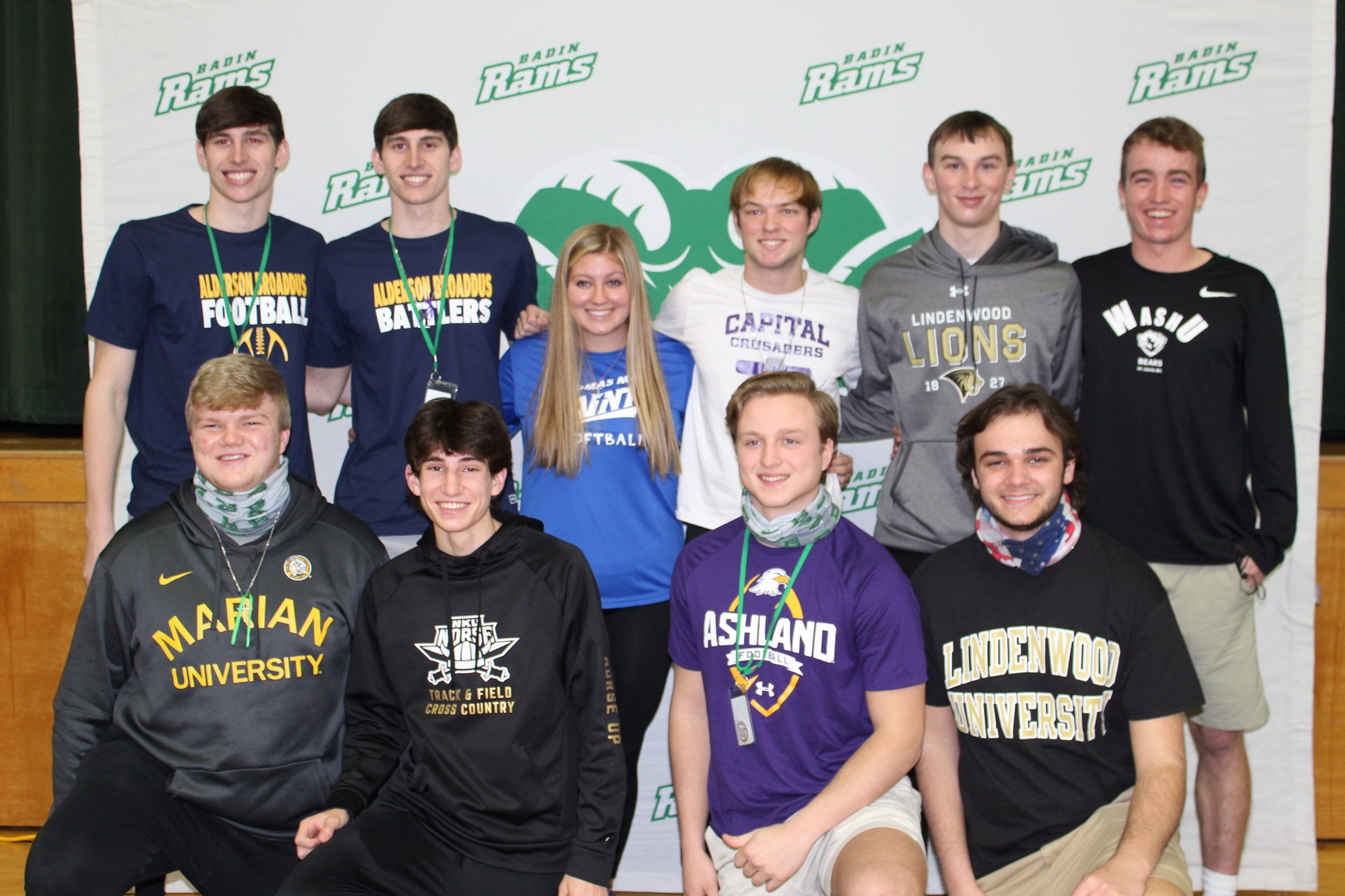Ten Badin High School student-athletes were recognized at a Signing Reception Friday morning, Feb. 12